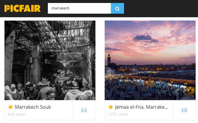Picfair photo quality scoring for search